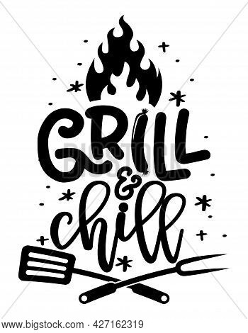 Grill And Chill - Label. Barbeque Elements For Labels, Logos, Badges, Stickers Or Icons. Vector Illu
