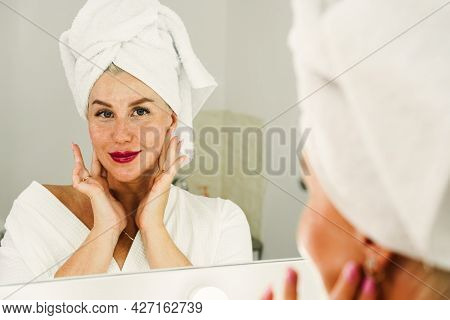 Skin Cream Concept. Facial Care For Female. Keep Skin Hydrated Regularly Moisturizing Cream. Fresh H