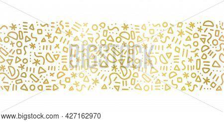 Seamless Golden Metallic Doodle Border. Memphis Style Horizontal Gold Foil Pattern Vector Repeat. Cu