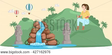 Journey Through Tropical Island With Palm Trees And Waterfall, Summer Vacation, Leisure. Traveling B
