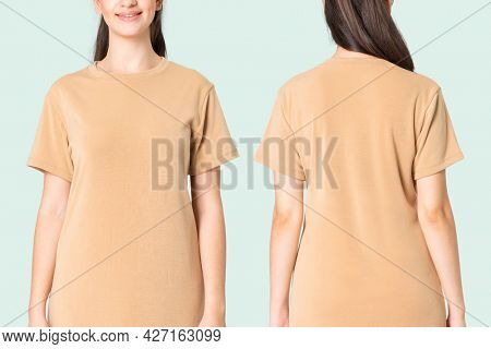 Woman in beige t-shirt dress casual wear fashion full body