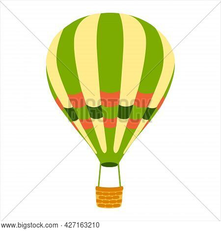 Hot Air Balloon.striped Hot Air Balloon In Cartoon Style On White Background. Vector Illustration. T