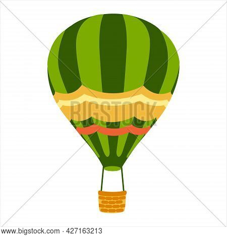 Green Striped Hot Air Balloon With Basket. Hot Air Balloon Isolated On White Background. Flat Cartoo