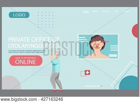 Private Office Of Otolaryngologist Landing Page Template. App For Providing Medical Service Online.
