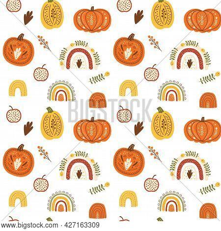 Fall Rainbow Pumpkin Pattern Cute Autumn Seamless Background. Thanksgiving Pumpking Pattern. Fall Ra