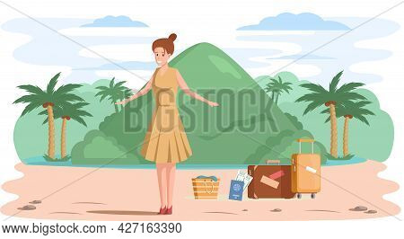 Woman In Journey Through Tropical Island With Palm Trees And Mountaines, Summer Vacation, Tourism, L