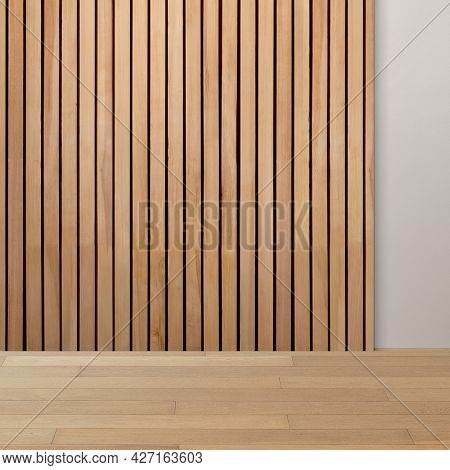 Empty minimal room with wood panelling wall