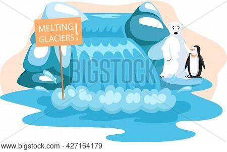 Wild Animals Living In Antarctica Suffer From Melting Glaciers. Polar Bear And Cute Penguin During G
