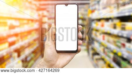 Online Grocery Delivery App In A Mobile Phone. Food Market Service In Smartphone. Grocery Delivery B