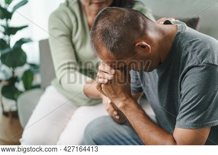 Female Psychologist, Friend Or Family Sitting And Put Hands On The Shoulder For Cheer Up To Mental D