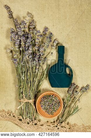 Lavender. Dry Herbs For Use In Alternative Medicine, Phytotherapy, Spa Or Herbal Cosmetics. Preparin