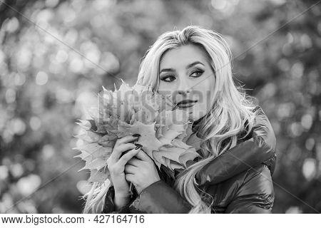 Autumn Favorite Season Concept. Autumn Is Her Favorite Season Of Year. Woman Walk In Autumn Park. Gi