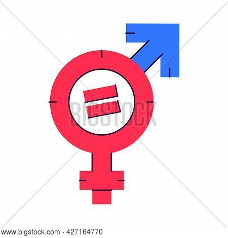 Gender Equality Symbol. Female Sign Of Venus Is Equal To Male Sign Of Mars