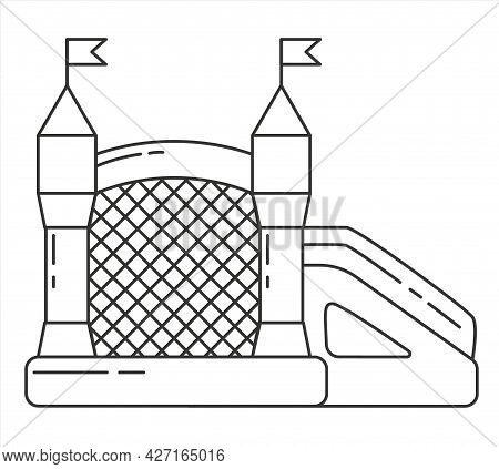 Bouncy Castle Outline Icon. Jumping House On Kids Playground. Vector Line Illustration.