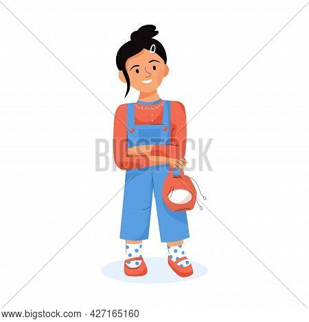 Stylish Children Concept. Child In Casual Outfit