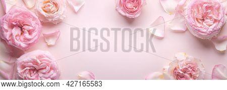 Flowers composition. Rose flower petals on pastel pink background.