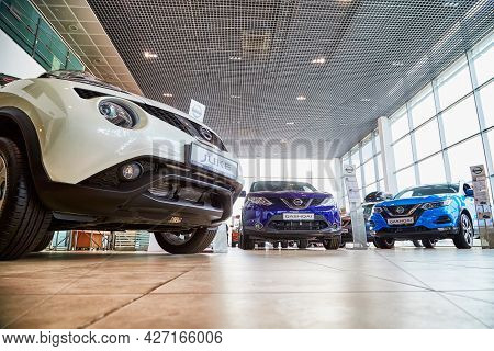 Kirov, Russia - May 07, 2019: Cars In Showroom Of Dealership Nissan In Kirov