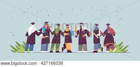 Arabic Graduated Students Standing Together Arab Graduates Celebrating Academic Diploma Degree Educa