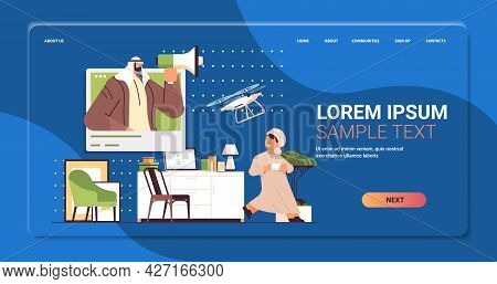 Arab Schoolboy Controlling Air Drone With Wireless Remote Controller Living Room Interior Horizontal
