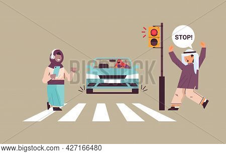 Schoolgirl With Smartphone And Headphones Crossing Road On Red Traffic Lights Arabic Driver Stops Ca