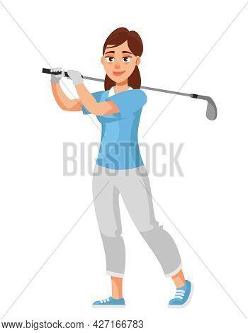 Female Golfer Hitting With Club. Sportswoman In Cartoon Style.