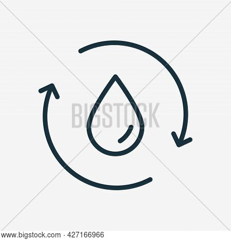 Recycle Or Reuse Water Linear Icon. Save World. Water Drop With 2 Sync And Circular Arrows. Recycle