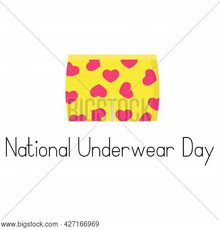 National Underwear Day, Cute Underwear With Bright Print Vector Illustration For Design
