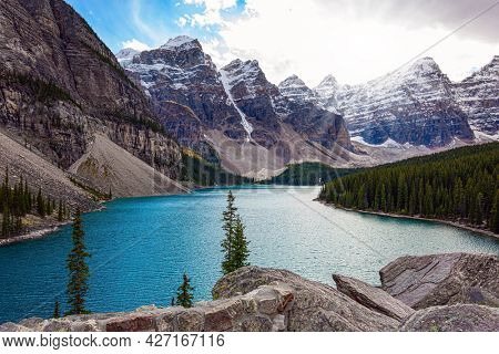 One of the most beautiful lakes in the world - Moraine Lake. Canadian Rockies. Banff Park. Valley of the Ten Peaks. The water in the lake is of a beautiful azure color. Travel to northern Canada