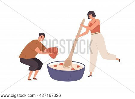Tiny People Cooking Healthy Food For Breakfast. Scene Of Man And Woman With Porridge. Person Adding