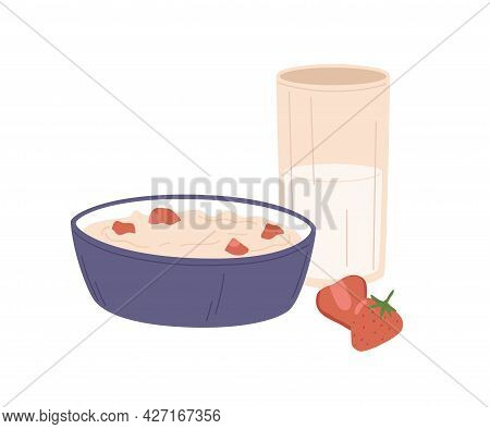 Bowl Of Oatmeal With Strawberries And Glass Of Milk For Breakfast. Served Healthy Meal With Porridge