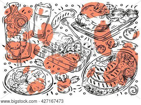 Hand Drawn Line Vector Illustration Food On White Board. Doodle German Cuisine: Wurst, Kartoffelpuff