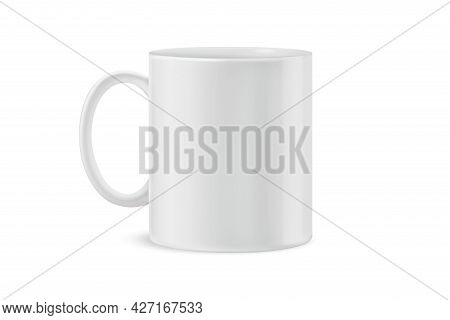 White Tea Cup And Saucer For Drink Isolated On White Background. Ceramic Coffee Cup Or Mug Close Up.