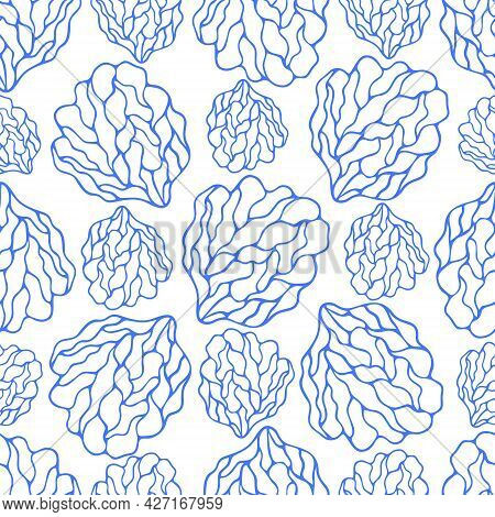 Coral Reef. Sea Sponge. Seamless Vector Pattern. Endless Marine Ornament. Abstract Background. Isola