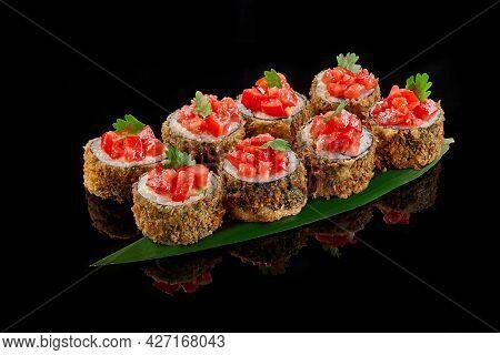 Warm Sushi Roll With Salmon, Cream Cheese, Panko Breadcrumbs, Tomatoes