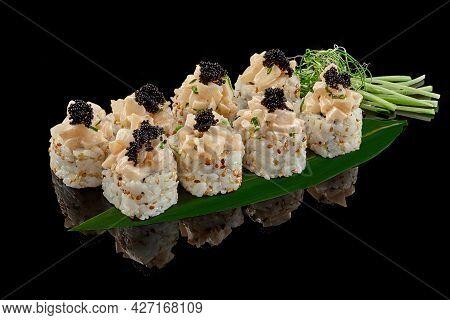 Sushi Roll With Scallops, Tobiko, Avocado, Green Onion