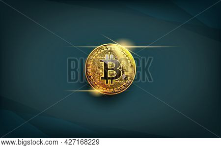 Realistic Bitcoin Coin, A Precious Golden Crypto Currency Coin With Light Reflect Icon Symbol Isolat