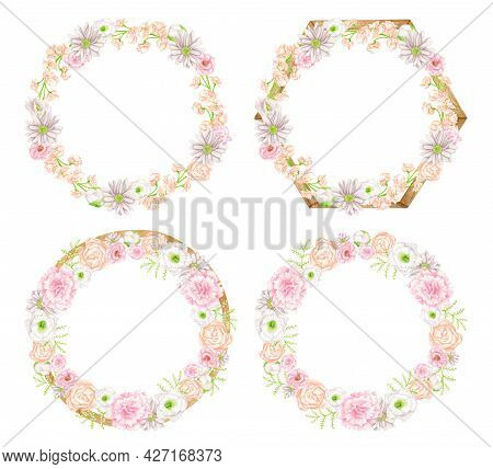 Watercolor Floral Wreaths With Wood Border Set. Hand Drawn Geometric Frames With Blush Flowers Isola