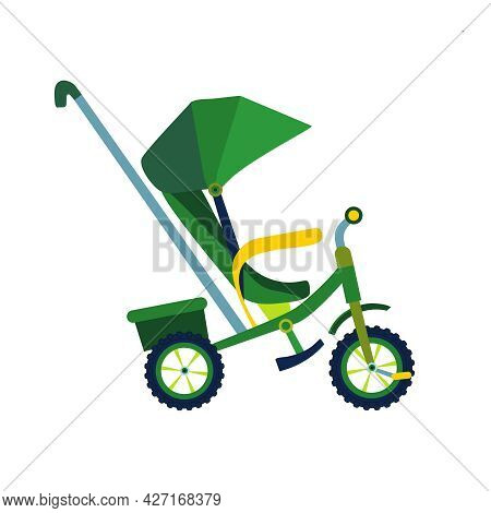 Kids Bicycle Or Tricycle In Flat Style. Colorful Bike Baby Carriage Icon, Playing Game Toy. Vector I