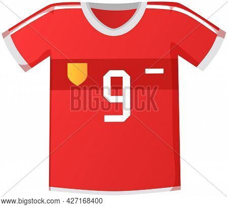 Sport Uniform Jersey, Red Soccer Shirt Flat Vector Clothing Element Isolated On White Background. Cl