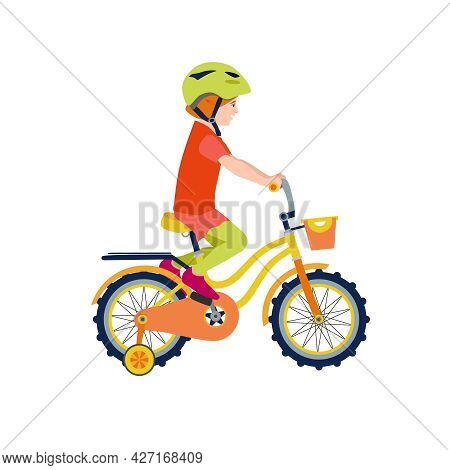 Flat Happy Kid On Bicycle. Child Riding Colorful Bike On White Background. Girl Kid Outdoor Bike Spo