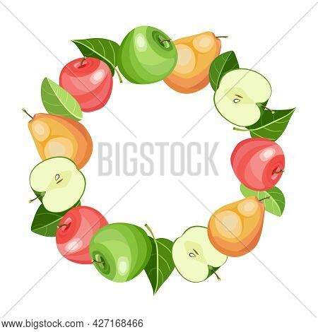 Fruits Circle Frame With Apples And Pears. Round Poster With Organic Fruits Whole And Cut Into Slice