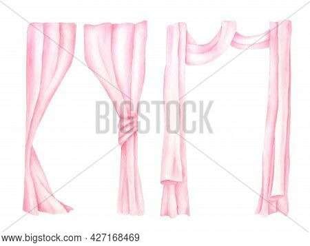Watercolor Curtains Illustration. Hand Drawn Pink Drapery Isolated On White. Elegant Veil Decoration