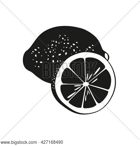 Summer Citrus Fruits For Health Silhouette. Black Lemon Fruit Icon Whole And Cut Into Slice On White
