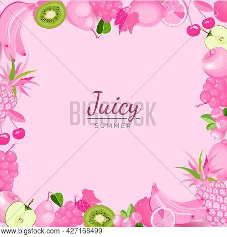 Pink Fruits Frame With Text Juicy Summer. Creative Poster With Exotic Organic Fruits Whole And Cut I