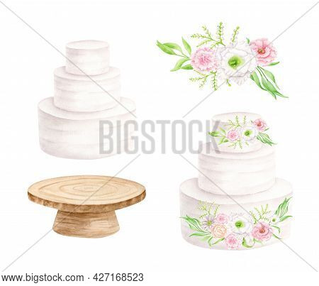 Watercolor Wedding Dessert Set. Hand Painted Tiered White Cream Cake, Rustic Wood Cake Stand And Flo