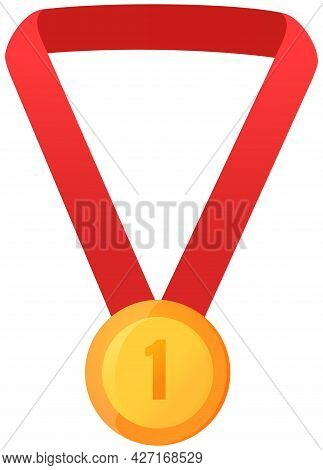 Vector Gold Medal On Red Ribbon Conceptual Of An Award For Victory Winning First Placement Achieveme