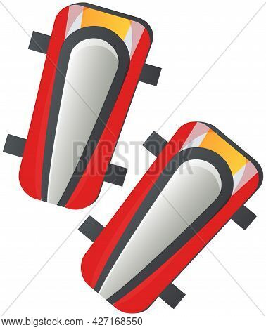 Soccer Defense Plastic Knee Pads. Sport Equipment Success Symbol, Preventing Injury To Athletes. Leg
