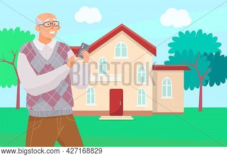 Elderly Man With Smartphone Is Communicating During Walk. Male Character Is Looking At Screen Of Mob
