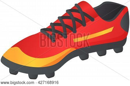 Vector Illustration Of Soccer Shoes, Football Boots Icon On White Background Flat Style With Spikes.