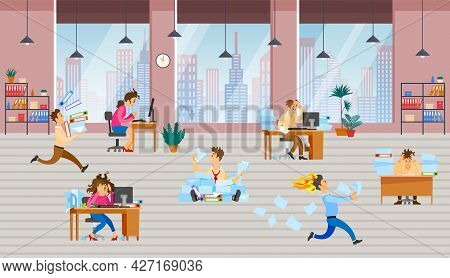 Stressed Cartoon Characters Working At Workplaces. Office Workers Hurry Up With Assignments. People